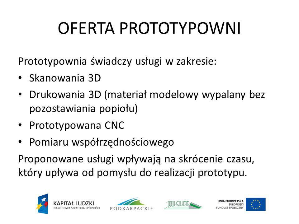 OFERTA PROTOTYPOWNI Prototypownia świadczy usługi w zakresie: Skanowania 3D Drukowania 3D (materiał modelowy wypalany bez pozostawiania popiołu) Proto