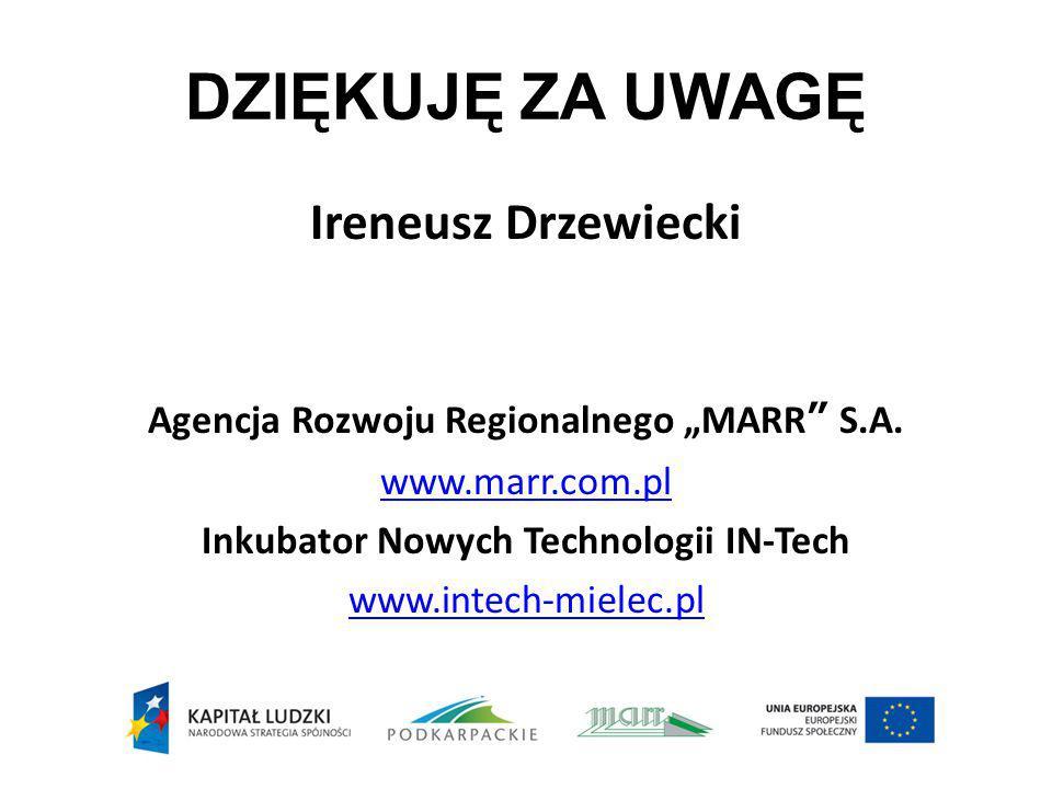 """DZIĘKUJĘ ZA UWAGĘ Ireneusz Drzewiecki Agencja Rozwoju Regionalnego """"MARR"""" S.A. www.marr.com.pl Inkubator Nowych Technologii IN-Tech www.intech-mielec."""