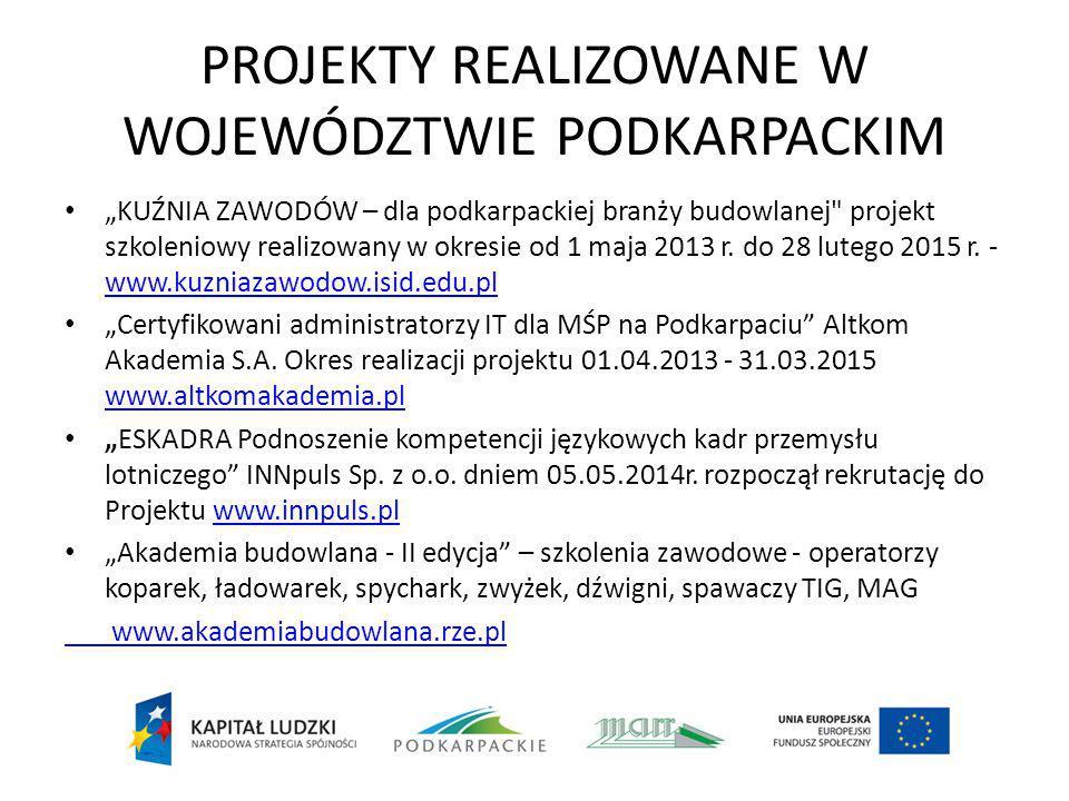 """PROJEKTY REALIZOWANE W WOJEWÓDZTWIE PODKARPACKIM """"KUŹNIA ZAWODÓW – dla podkarpackiej branży budowlanej projekt szkoleniowy realizowany w okresie od 1 maja 2013 r."""
