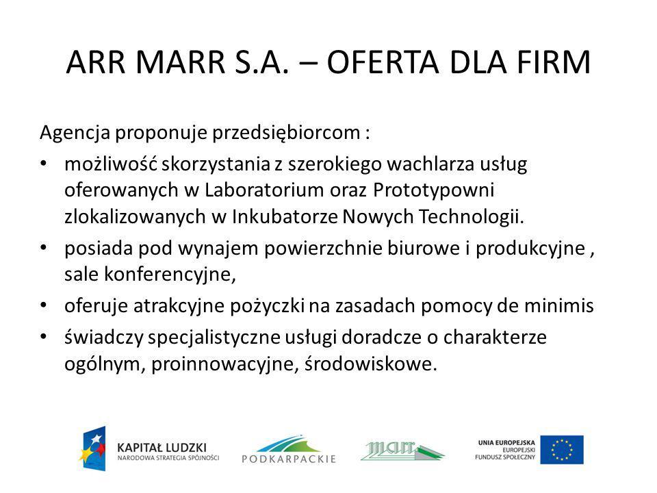 ARR MARR S.A. – OFERTA DLA FIRM Agencja proponuje przedsiębiorcom : możliwość skorzystania z szerokiego wachlarza usług oferowanych w Laboratorium ora