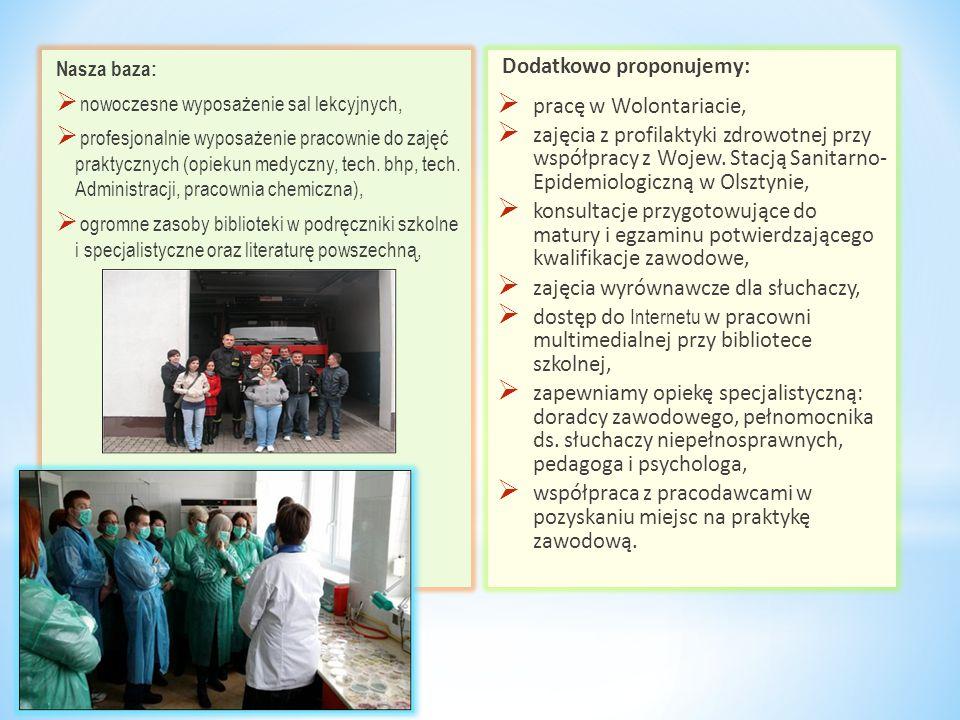 Nasza baza:  nowoczesne wyposażenie sal lekcyjnych,  profesjonalnie wyposażenie pracownie do zajęć praktycznych (opiekun medyczny, tech. bhp, tech.
