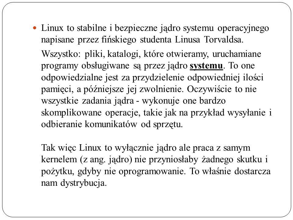 Linux to stabilne i bezpieczne jądro systemu operacyjnego napisane przez fińskiego studenta Linusa Torvaldsa. Wszystko: pliki, katalogi, które otwiera