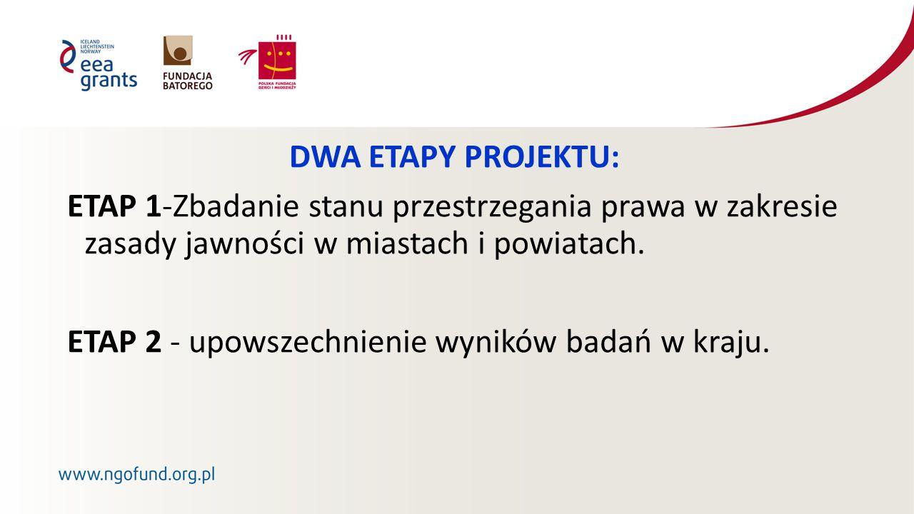 DWA ETAPY PROJEKTU: ETAP 1-Zbadanie stanu przestrzegania prawa w zakresie zasady jawności w miastach i powiatach.