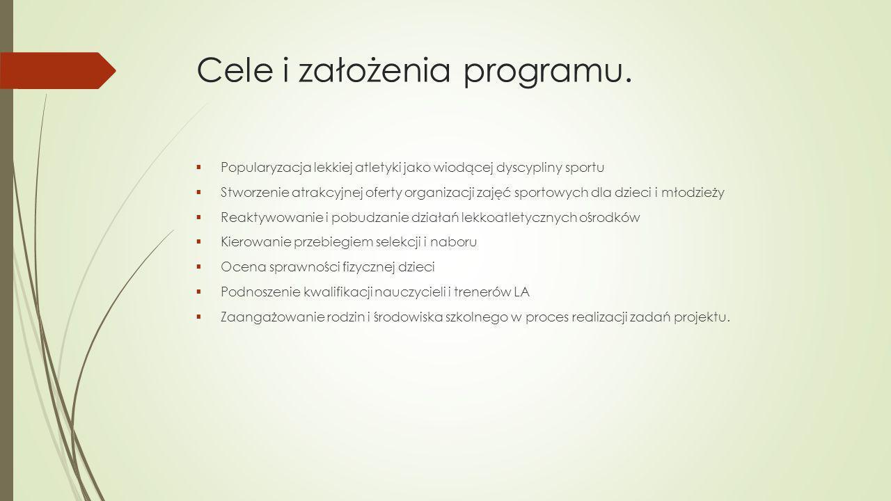 Cele i założenia programu.  Popularyzacja lekkiej atletyki jako wiodącej dyscypliny sportu  Stworzenie atrakcyjnej oferty organizacji zajęć sportowy