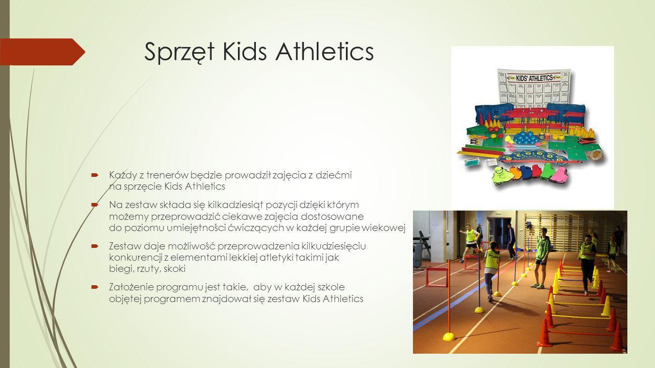 Sprzęt Kids Athletics  Każdy z trenerów będzie prowadził zajęcia z dziećmi na sprzęcie Kids Athletics  Na zestaw składa się kilkadziesiąt pozycji dzięki którym możemy przeprowadzić ciekawe zajęcia dostosowane do poziomu umiejętności ćwiczących w każdej grupie wiekowej  Zestaw daje możliwość przeprowadzenia kilkudziesięciu konkurencji z elementami lekkiej atletyki takimi jak biegi, rzuty, skoki  Założenie programu jest takie, aby w każdej szkole objętej programem znajdował się zestaw Kids Athletics