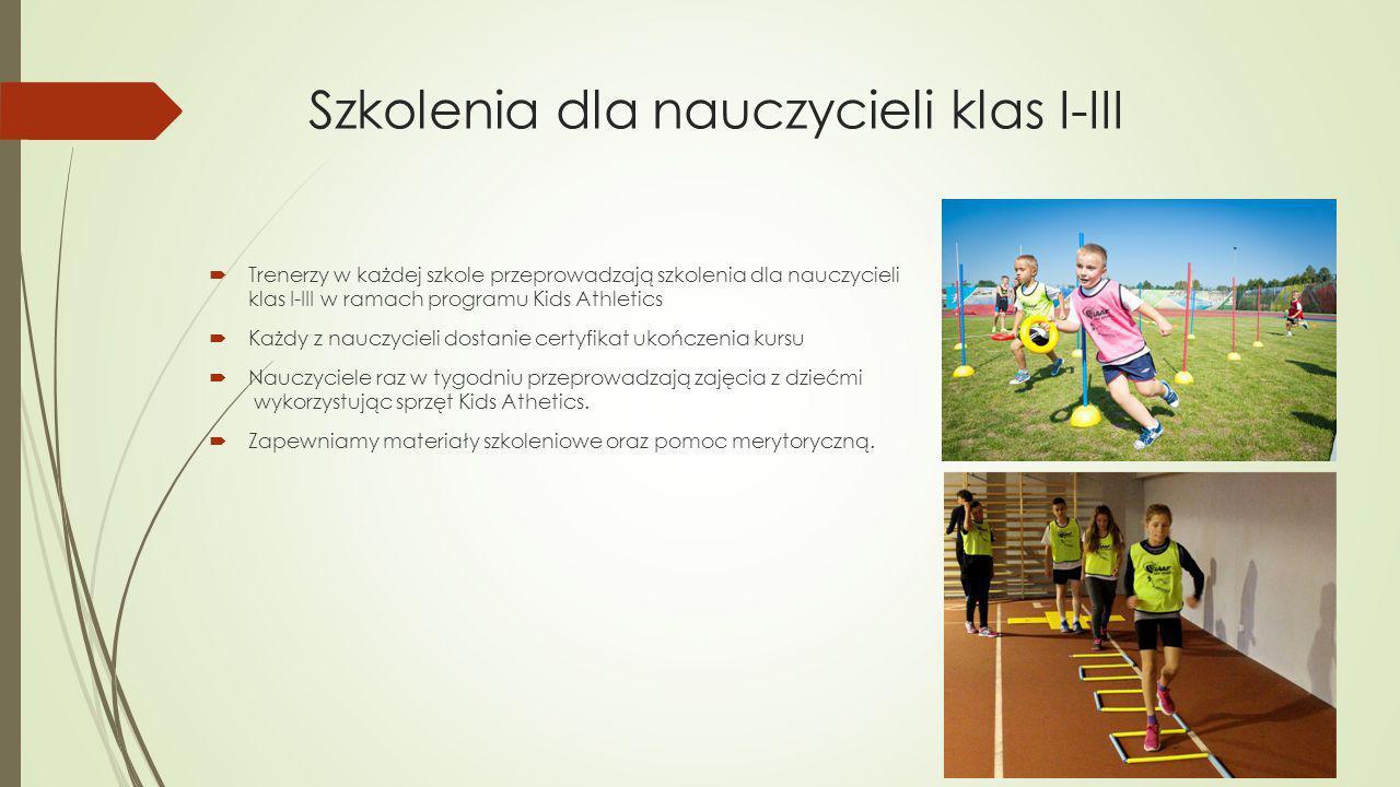 Szkolenia dla nauczycieli klas I-III  Trenerzy w każdej szkole przeprowadzają szkolenia dla nauczycieli klas I-III w ramach programu Kids Athletics 