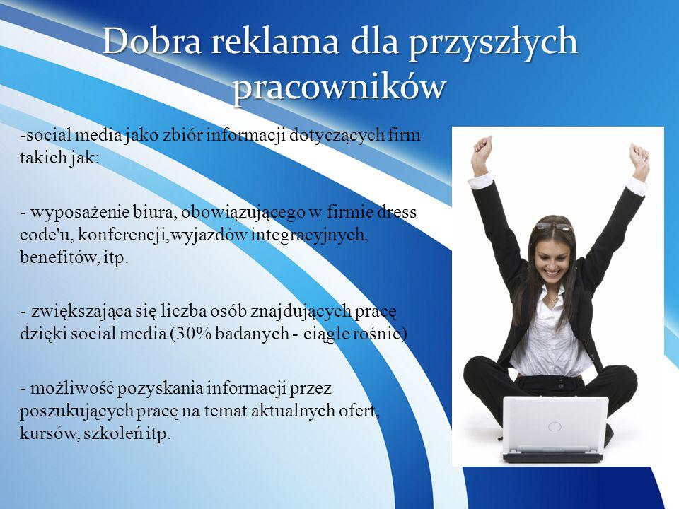 Dobra reklama dla przyszłych pracowników -social media jako zbiór informacji dotyczących firm takich jak: - wyposażenie biura, obowiązującego w firmie