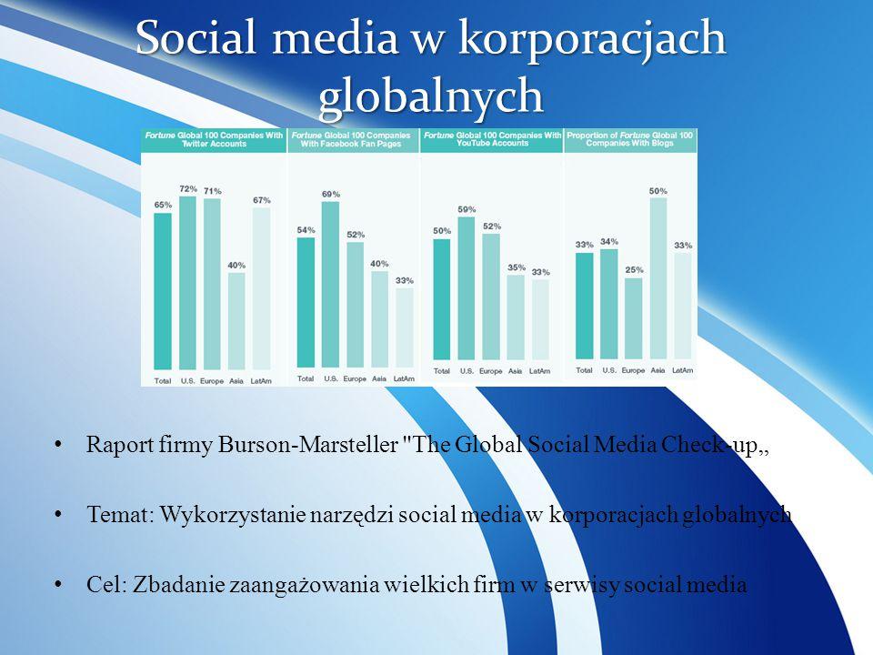 """Social media w korporacjach globalnych Raport firmy Burson-Marsteller The Global Social Media Check-up"""" Temat: Wykorzystanie narzędzi social media w korporacjach globalnych Cel: Zbadanie zaangażowania wielkich firm w serwisy social media"""