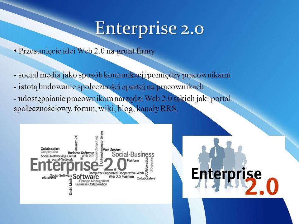 Enterprise 2.0 Przesunięcie idei Web 2.0 na grunt firmy - social media jako sposób komunikacji pomiędzy pracownikami - istotą budowanie społeczności o
