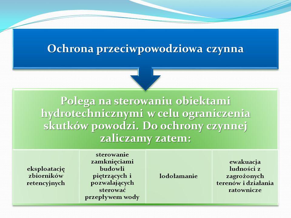 Polega na sterowaniu obiektami hydrotechnicznymi w celu ograniczenia skutków powodzi. Do ochrony czynnej zaliczamy zatem: eksploatację zbiorników rete