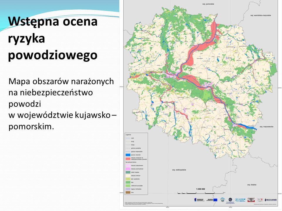 Mapa obszarów narażonych na niebezpieczeństwo powodzi w województwie kujawsko – pomorskim.