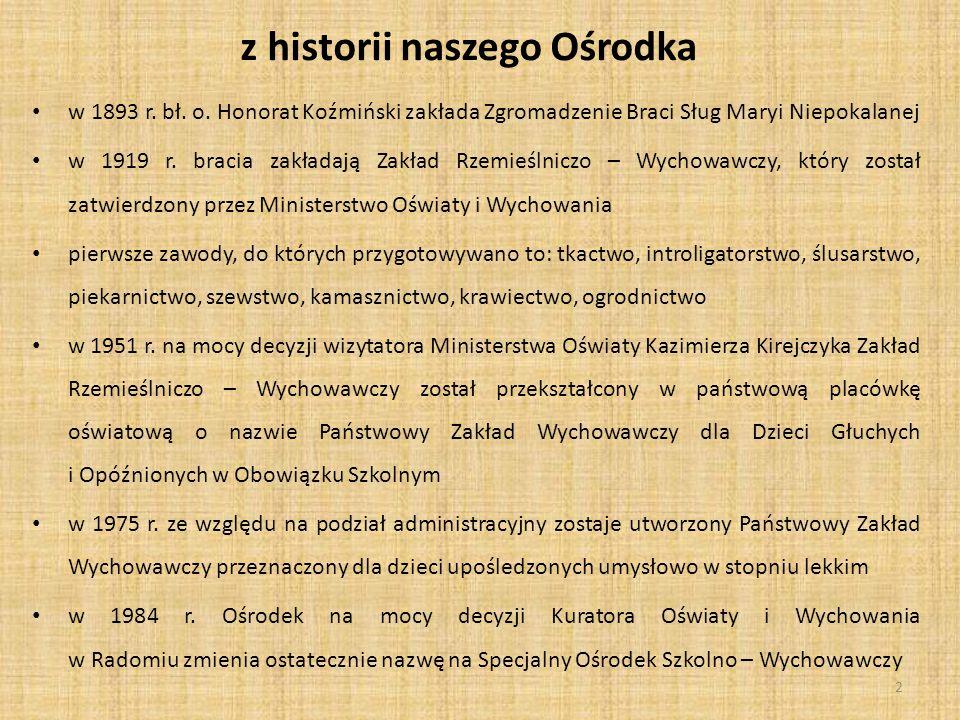 z historii naszego Ośrodka w 1893 r.bł. o.