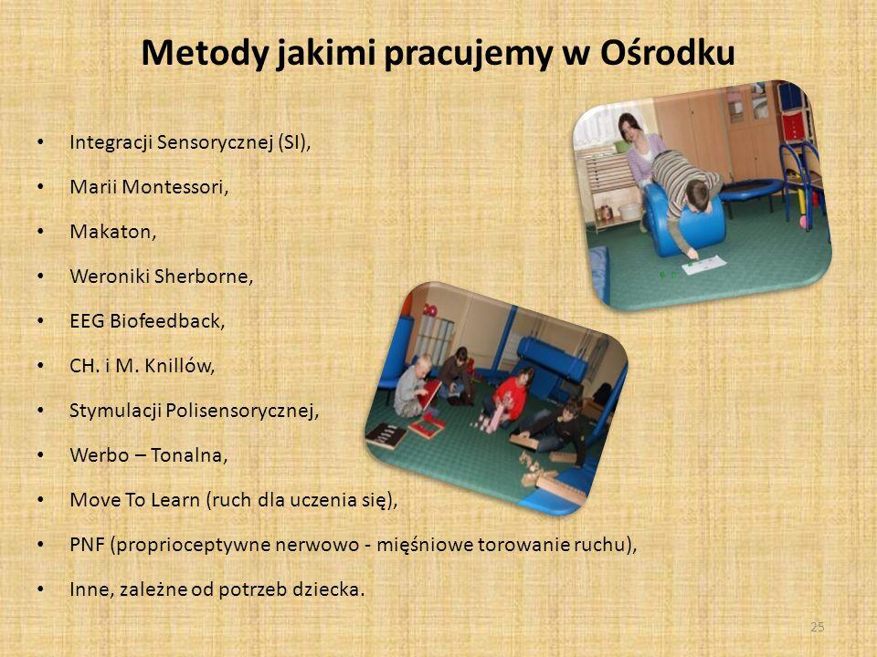 Metody jakimi pracujemy w Ośrodku Integracji Sensorycznej (SI), Marii Montessori, Makaton, Weroniki Sherborne, EEG Biofeedback, CH.