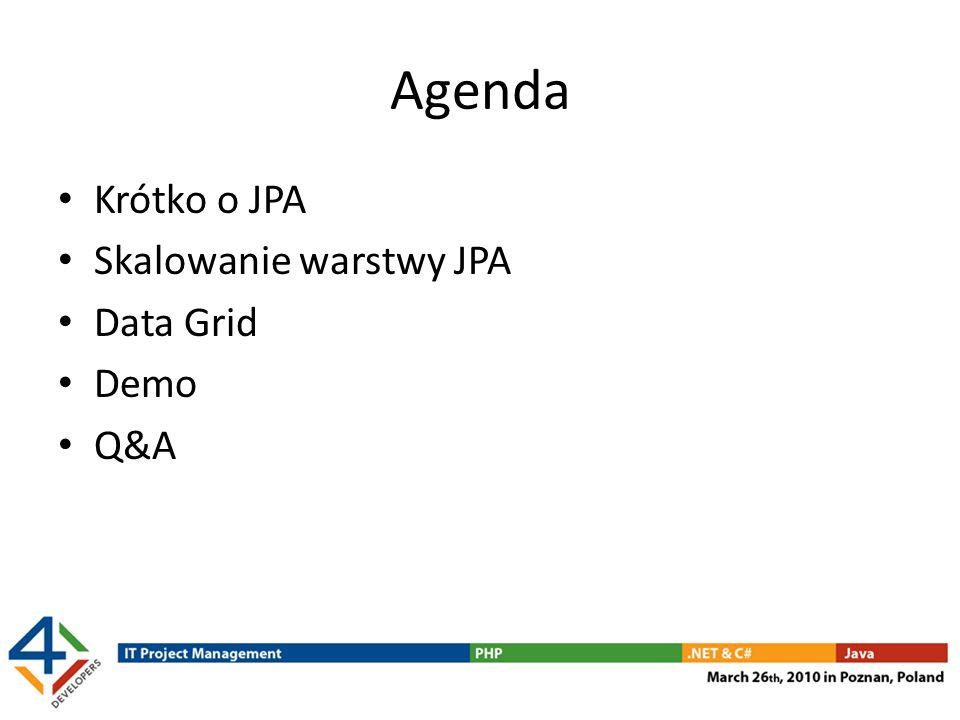 Agenda Krótko o JPA Skalowanie warstwy JPA Data Grid Demo Q&A