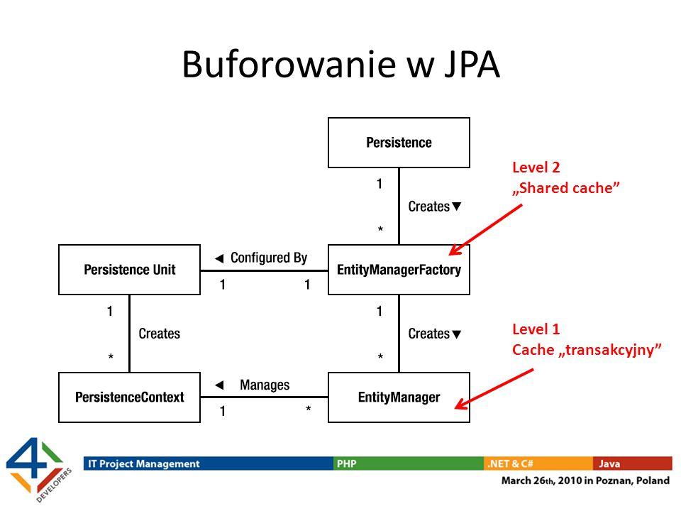 Konfiguracja cache/buforów Zależna od dostawcy JPA Zwykle możliwe – konfigurowanie które Entity będą buforowane możliwość definiowania wskazówek (hint) – rozmiar bufora (liczba obiektów) – sposób lock'owania – sposób współpracy z Garbage Collection typy referencji (weak/soft/hard/...) Parametry dobierane zależnie od sposobu używania Entity