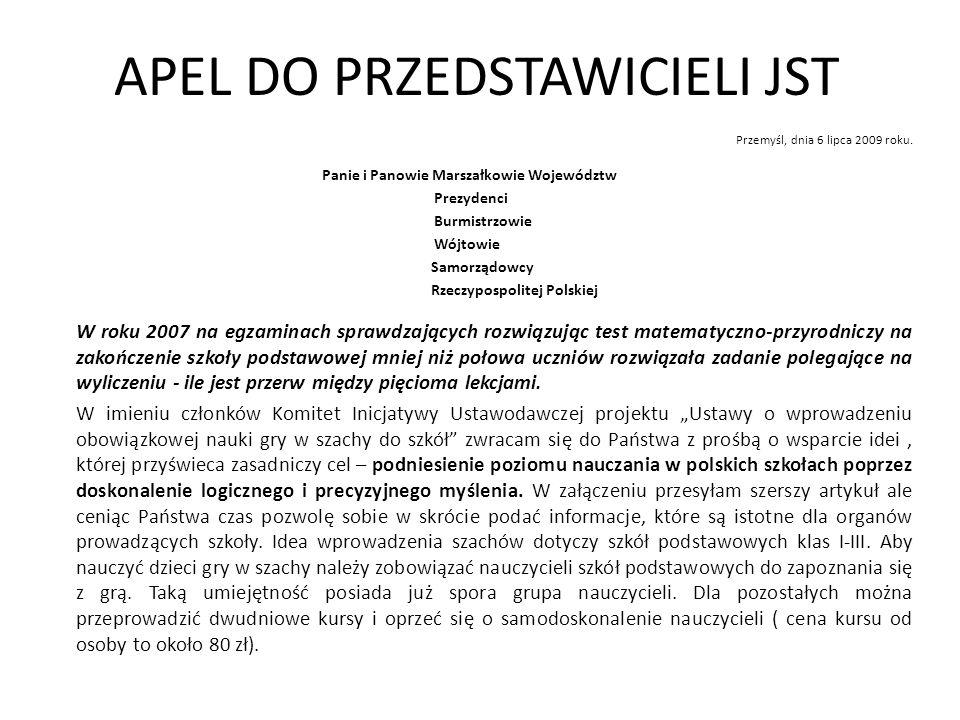 APEL DO PRZEDSTAWICIELI JST Przemyśl, dnia 6 lipca 2009 roku.
