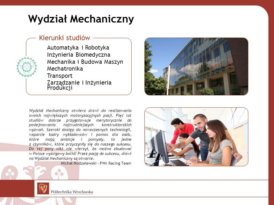 Wydział Mechaniczny Wydział Mechaniczny otwiera drzwi do realizowania swoich największych motoryzacyjnych pasji. Pięć lat studiów dobrze przygotowuje