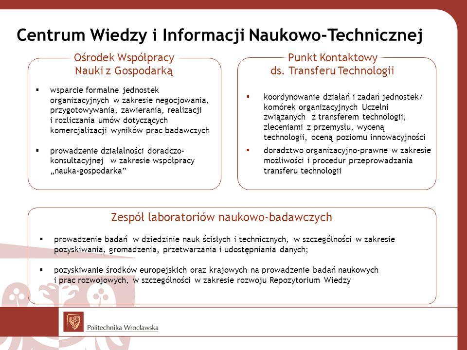 """ koordynowanie działań i zadań jednostek/ komórek organizacyjnych Uczelni związanych z transferem technologii, zleceniami z przemysłu, wyceną technologii, oceną poziomu innowacyjności  doradztwo organizacyjno-prawne w zakresie możliwości i procedur przeprowadzania transferu technologii Centrum Wiedzy i Informacji Naukowo-Technicznej  wsparcie formalne jednostek organizacyjnych w zakresie negocjowania, przygotowywania, zawierania, realizacji i rozliczania umów dotyczących komercjalizacji wyników prac badawczych  prowadzenie działalności doradczo- konsultacyjnej w zakresie współpracy """"nauka-gospodarka  prowadzenie badań w dziedzinie nauk ścisłych i technicznych, w szczególności w zakresie pozyskiwania, gromadzenia, przetwarzania i udostępniania danych;  pozyskiwanie środków europejskich oraz krajowych na prowadzenie badań naukowych i prac rozwojowych, w szczególności w zakresie rozwoju Repozytorium Wiedzy Zespół laboratoriów naukowo-badawczych"""