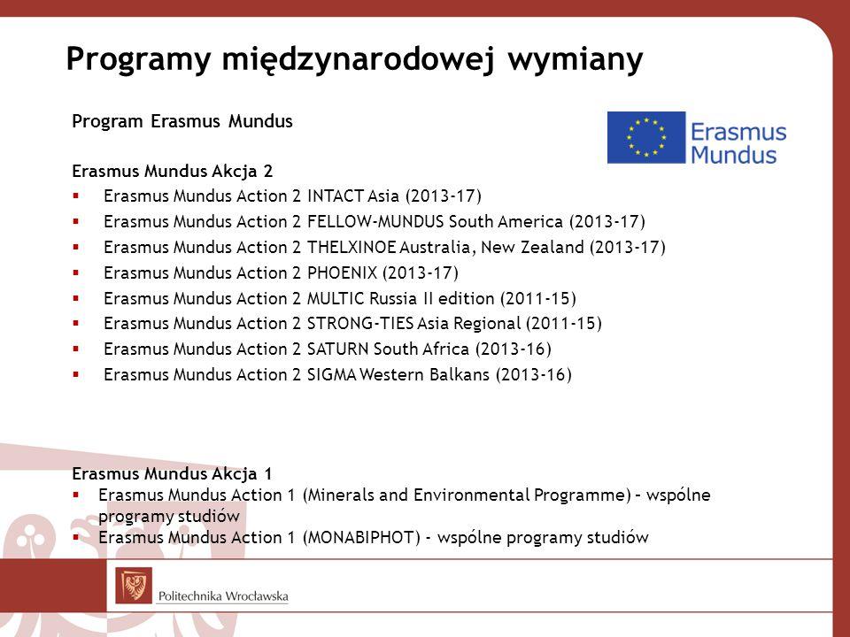 Program Erasmus Mundus Erasmus Mundus Akcja 2  Erasmus Mundus Action 2 INTACT Asia (2013-17)  Erasmus Mundus Action 2 FELLOW-MUNDUS South America (2