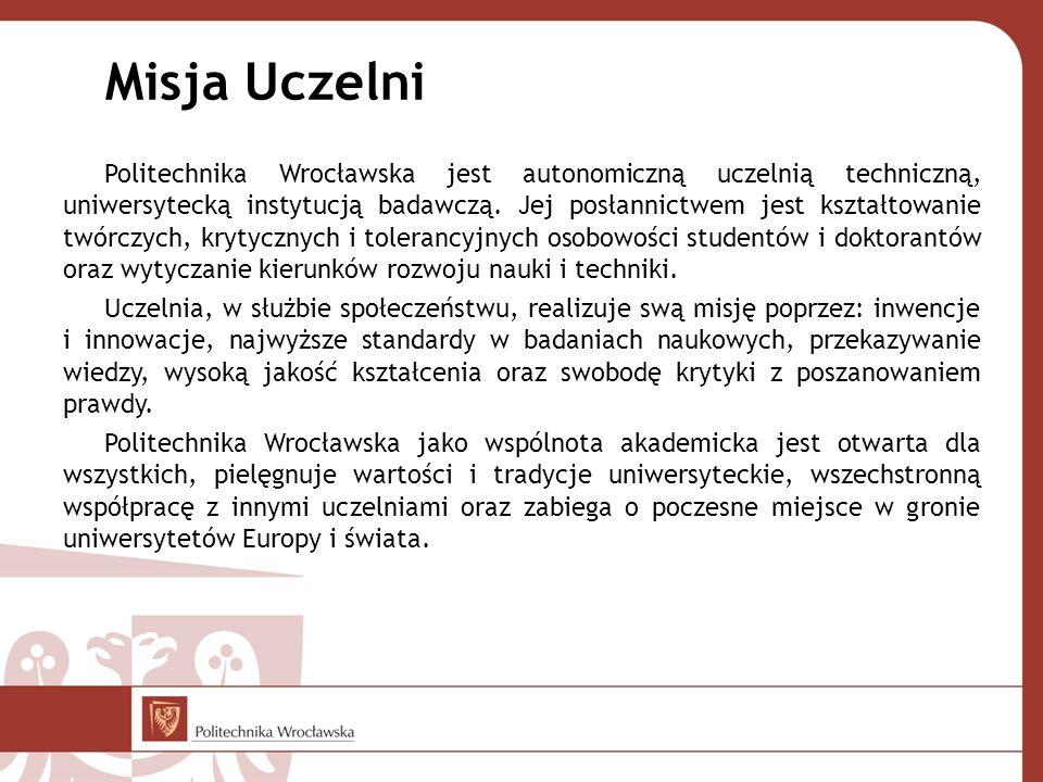 Misja Uczelni Politechnika Wrocławska jest autonomiczną uczelnią techniczną, uniwersytecką instytucją badawczą. Jej posłannictwem jest kształtowanie t