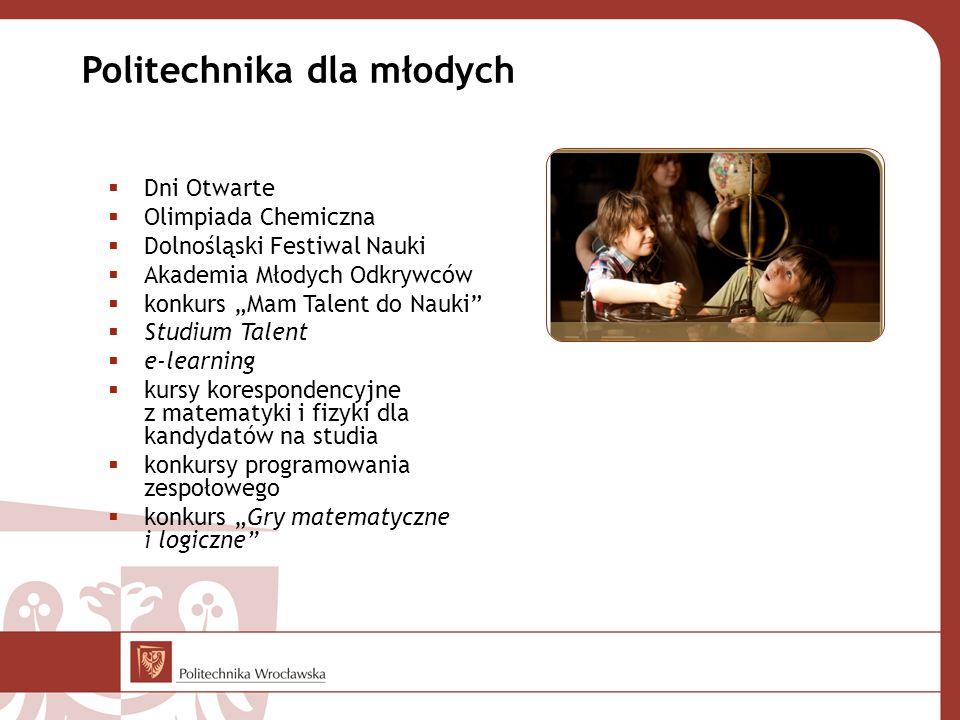 """ Dni Otwarte  Olimpiada Chemiczna  Dolnośląski Festiwal Nauki  Akademia Młodych Odkrywców  konkurs """"Mam Talent do Nauki""""  Studium Talent  e-lea"""