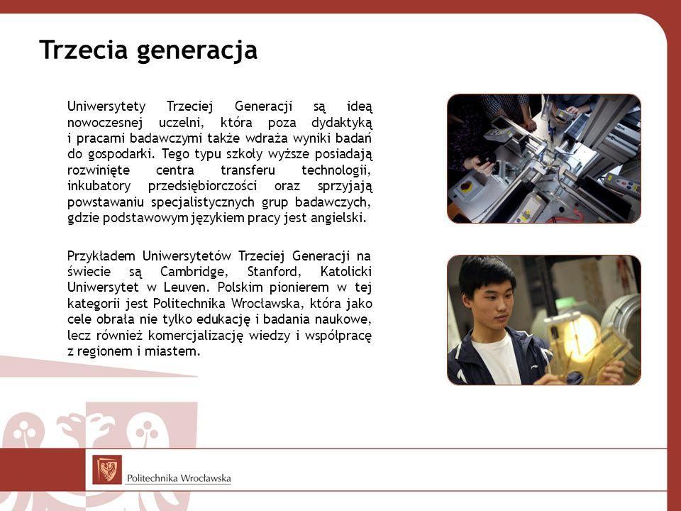 Trzecia generacja Uniwersytety Trzeciej Generacji są ideą nowoczesnej uczelni, która poza dydaktyką i pracami badawczymi także wdraża wyniki badań do