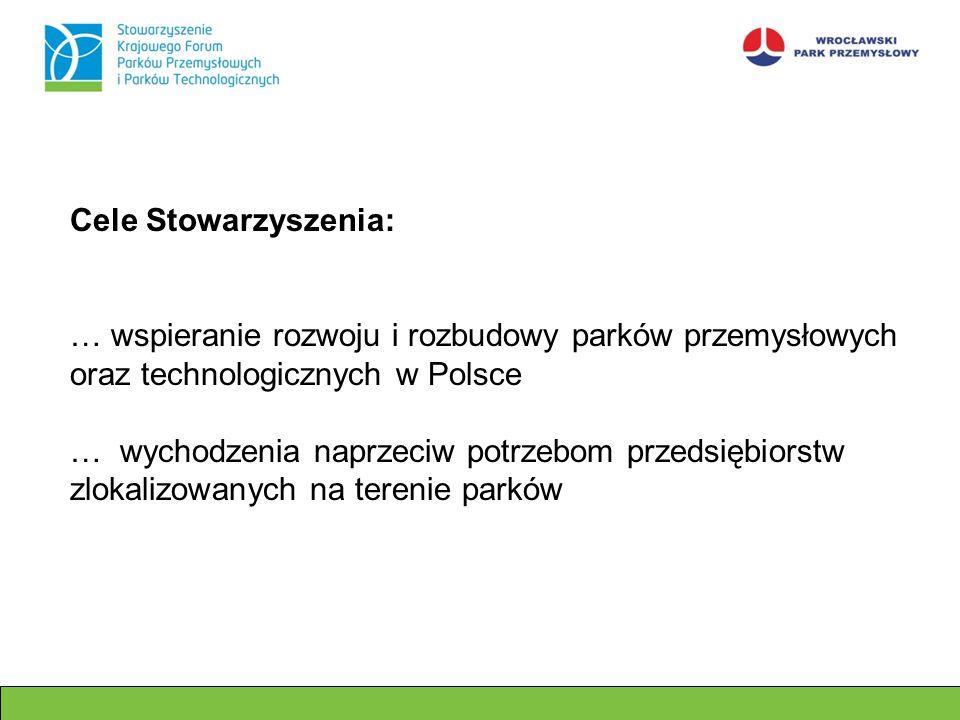 Cele Stowarzyszenia: … wspieranie rozwoju i rozbudowy parków przemysłowych oraz technologicznych w Polsce … wychodzenia naprzeciw potrzebom przedsiębi