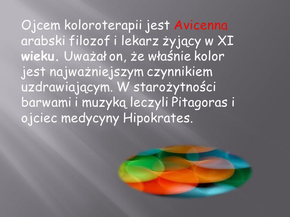 Ojcem koloroterapii jest Avicenna  arabski filozof i lekarz żyjący w XI wieku. Uważał on, że właśnie kolor jest najważniejszym czynnikiem uzdrawiając