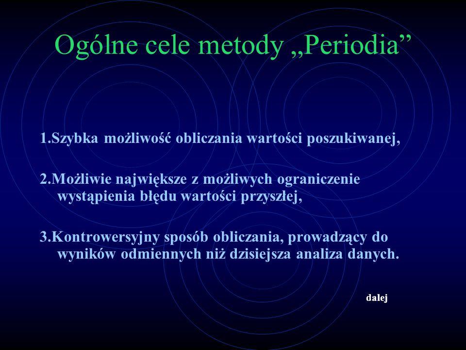 """Ogólne cele metody """"Periodia"""" 1.Szybka możliwość obliczania wartości poszukiwanej, 2.Możliwie największe z możliwych ograniczenie wystąpienia błędu wa"""
