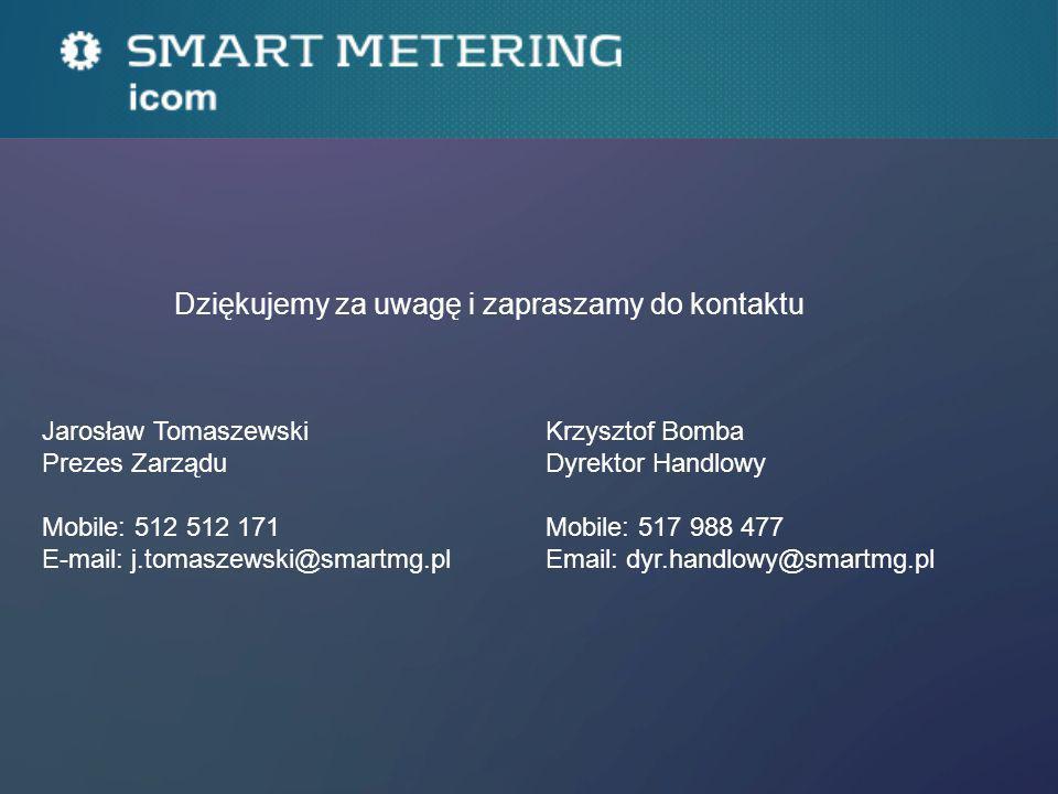 Dziękujemy za uwagę i zapraszamy do kontaktu Jarosław Tomaszewski Prezes Zarządu Mobile: 512 512 171 E-mail: j.tomaszewski@smartmg.pl Krzysztof Bomba