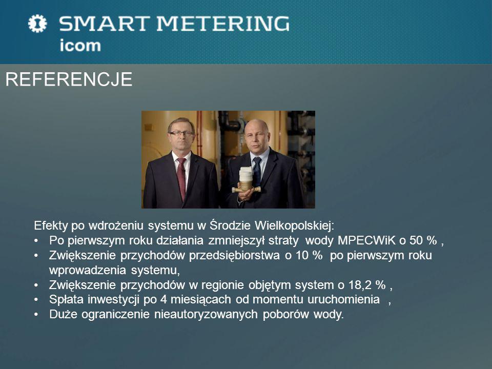 Efekty po wdrożeniu systemu w Środzie Wielkopolskiej: Po pierwszym roku działania zmniejszył straty wody MPECWiK o 50 %, Zwiększenie przychodów przeds