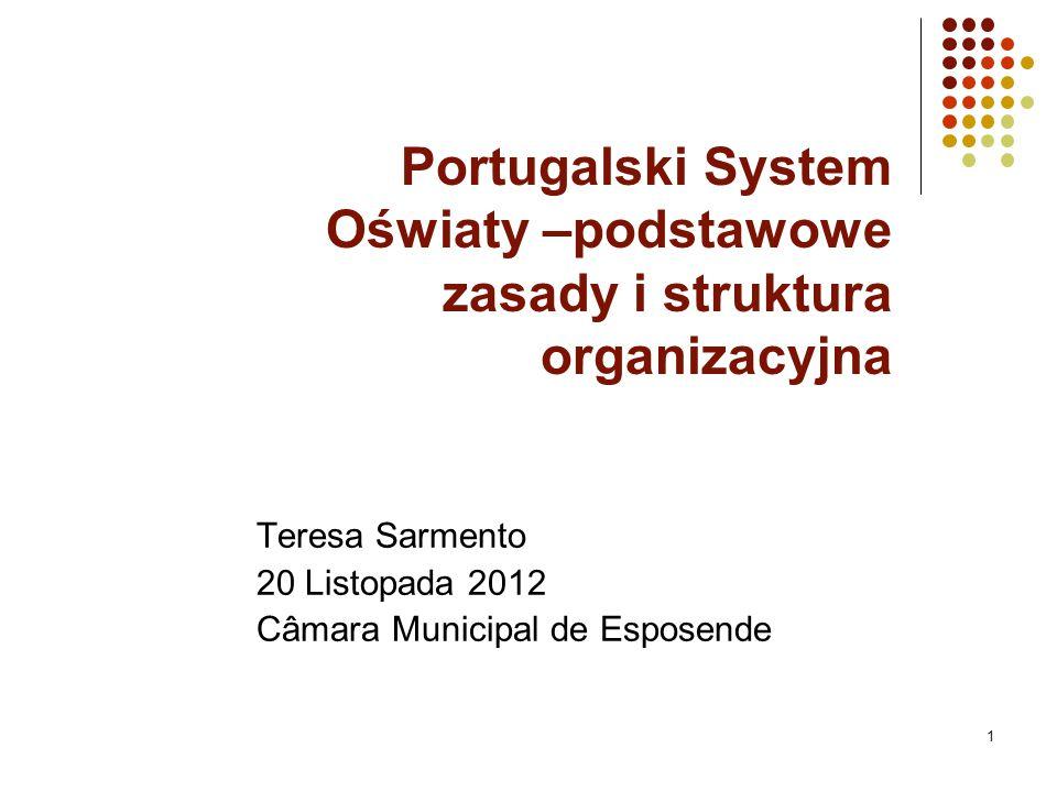 Portugalski System Oświaty –podstawowe zasady i struktura organizacyjna Teresa Sarmento 20 Listopada 2012 Câmara Municipal de Esposende 1