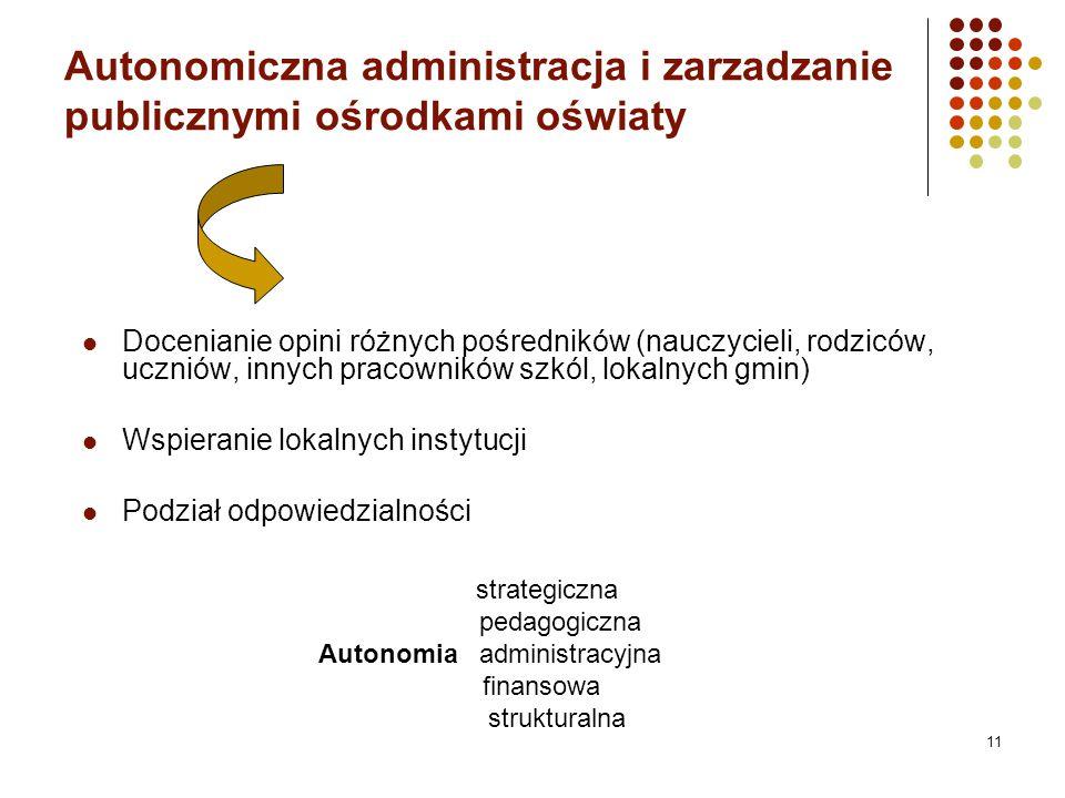 Autonomiczna administracja i zarzadzanie publicznymi ośrodkami oświaty Docenianie opini różnych pośredników (nauczycieli, rodziców, uczniów, innych pracowników szkól, lokalnych gmin) Wspieranie lokalnych instytucji Podział odpowiedzialności strategiczna pedagogiczna Autonomia administracyjna finansowa strukturalna 11
