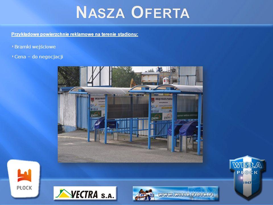 Przykładowe powierzchnie reklamowe na terenie stadionu: Bramki wejściowe Cena – do negocjacji