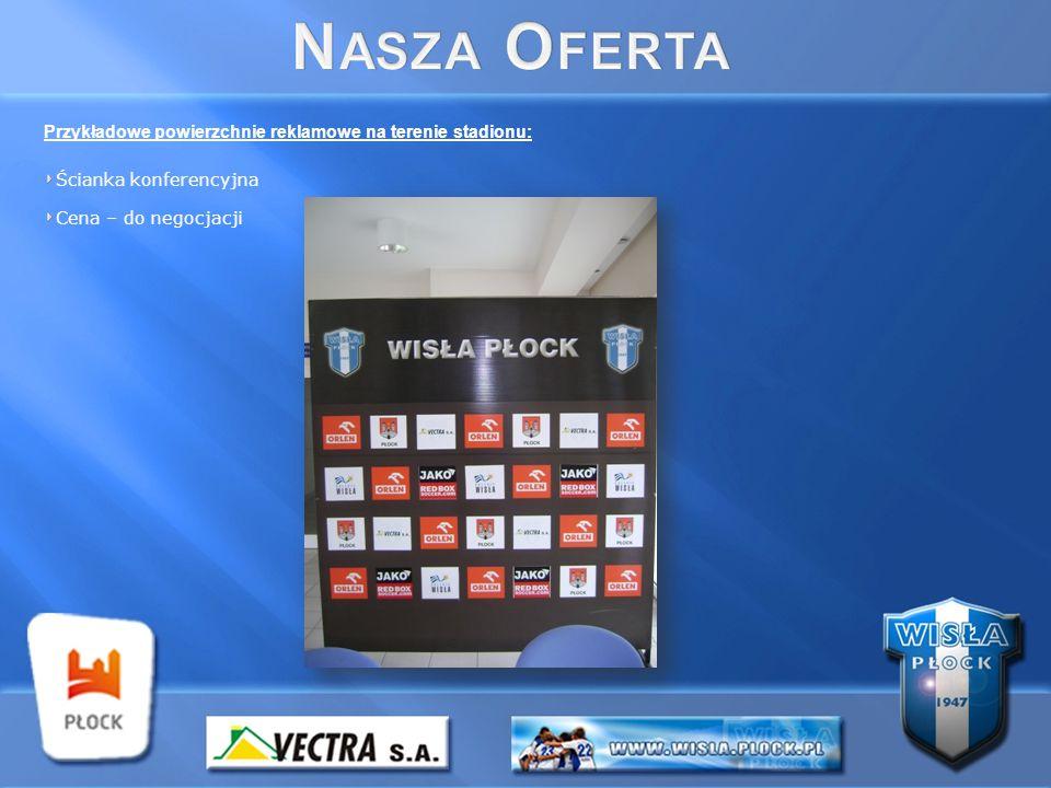 Przykładowe powierzchnie reklamowe na terenie stadionu: Ścianka konferencyjna Cena – do negocjacji