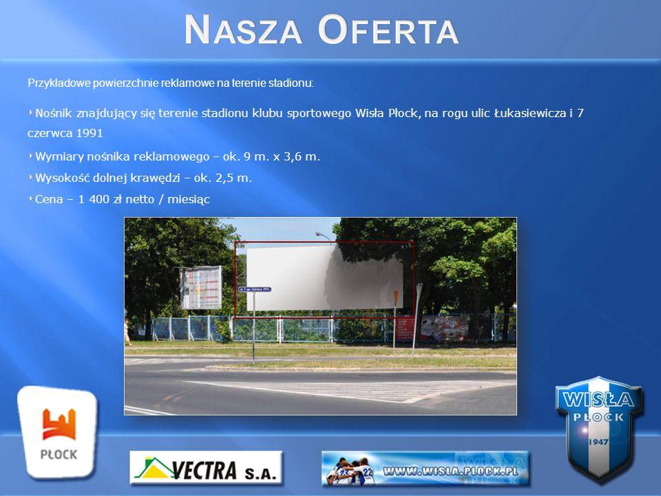 Przykładowe powierzchnie reklamowe na terenie stadionu: Nośnik znajdujący się terenie stadionu klubu sportowego Wisła Płock, na rogu ulic Łukasiewicza