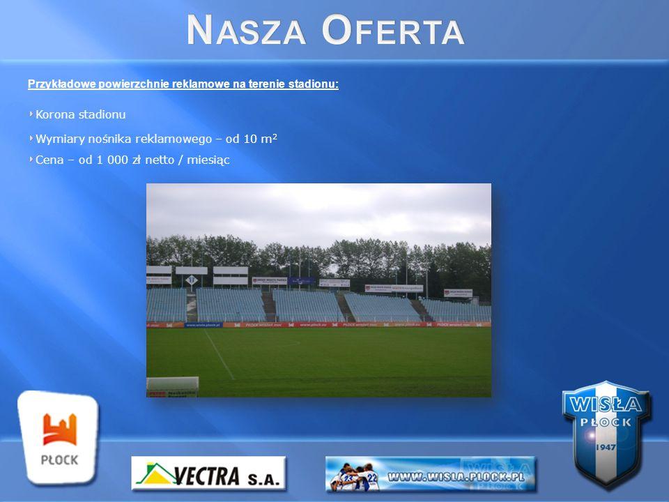 Przykładowe powierzchnie reklamowe na terenie stadionu: Korona stadionu Wymiary nośnika reklamowego – od 10 m 2 Cena – od 1 000 zł netto / miesiąc