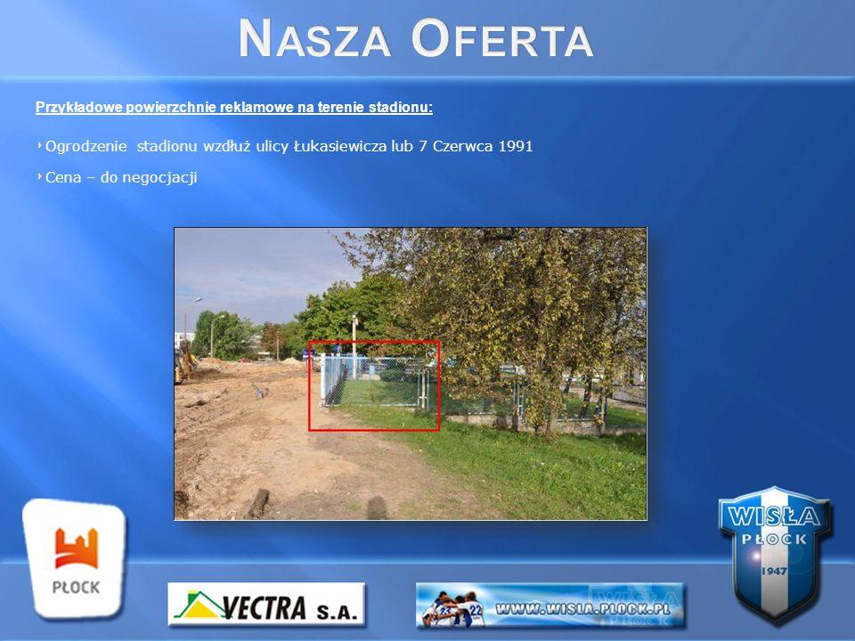 Przykładowe powierzchnie reklamowe na terenie stadionu: Ogrodzenie stadionu wzdłuż ulicy Łukasiewicza lub 7 Czerwca 1991 Cena – do negocjacji