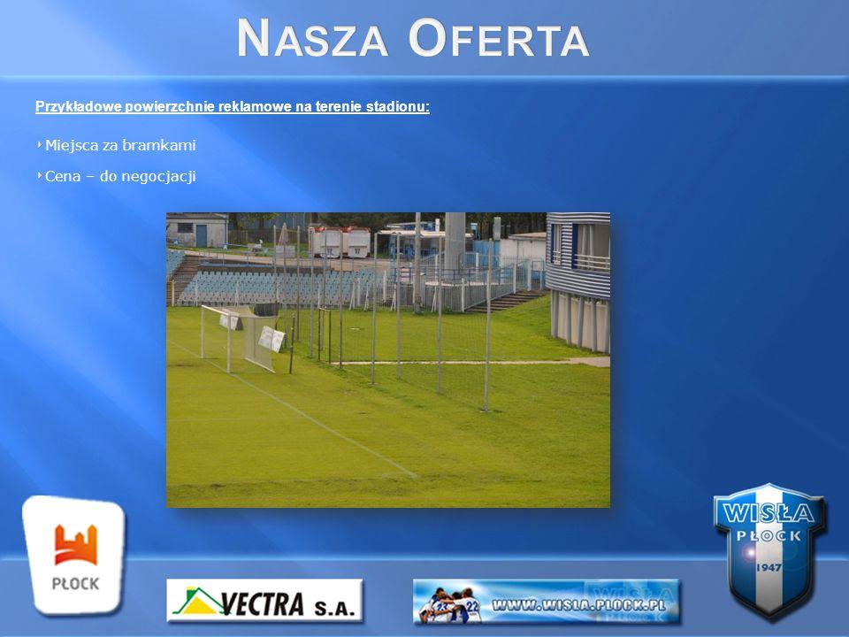 Przykładowe powierzchnie reklamowe na terenie stadionu: Miejsca za bramkami Cena – do negocjacji