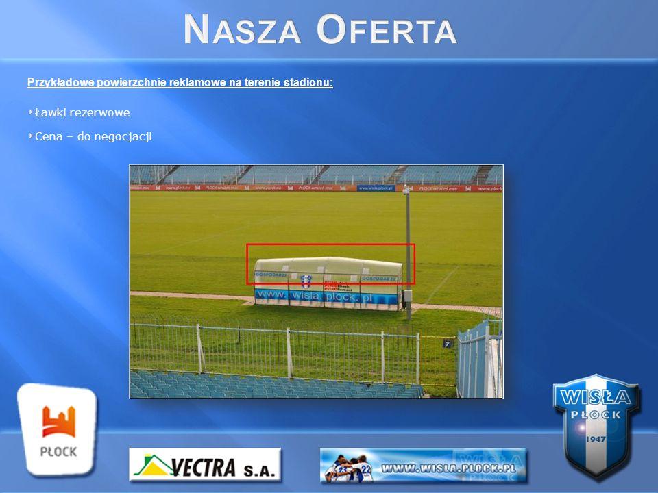 Przykładowe powierzchnie reklamowe na terenie stadionu: Ławki rezerwowe Cena – do negocjacji