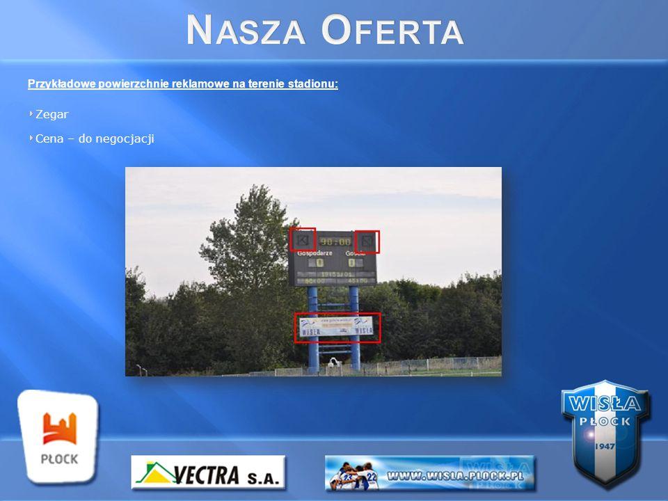 Przykładowe powierzchnie reklamowe na terenie stadionu: Zegar Cena – do negocjacji