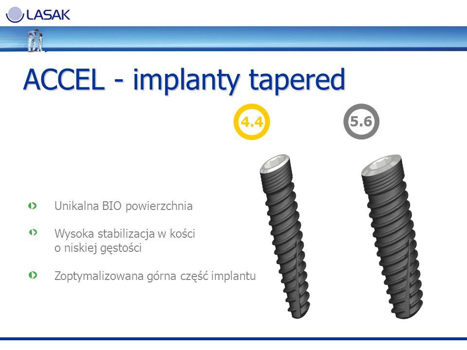 Unikalna BIO powierzchnia Wysoka stabilizacja w kości o niskiej gęstości Zoptymalizowana górna część implantu ACCEL - implanty tapered 4.45.6