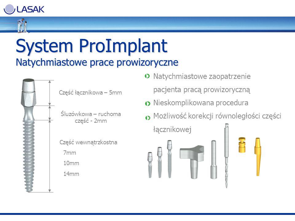System ProImplant Natychmiastowe prace prowizoryczne Natychmiastowe zaopatrzenie pacjenta pracą prowizoryczną Nieskomplikowana procedura Możliwość kor