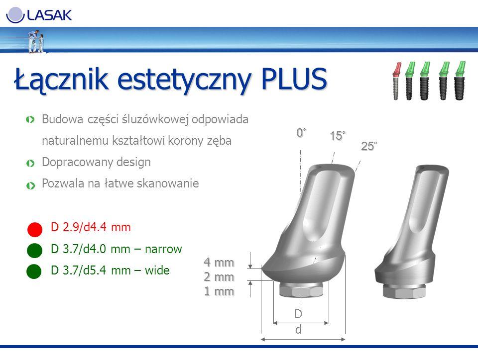 Łącznik estetyczny PLUS 0.5 mm Budowa części śluzówkowej odpowiada naturalnemu kształtowi korony zęba Dopracowany design Pozwala na łatwe skanowanie D