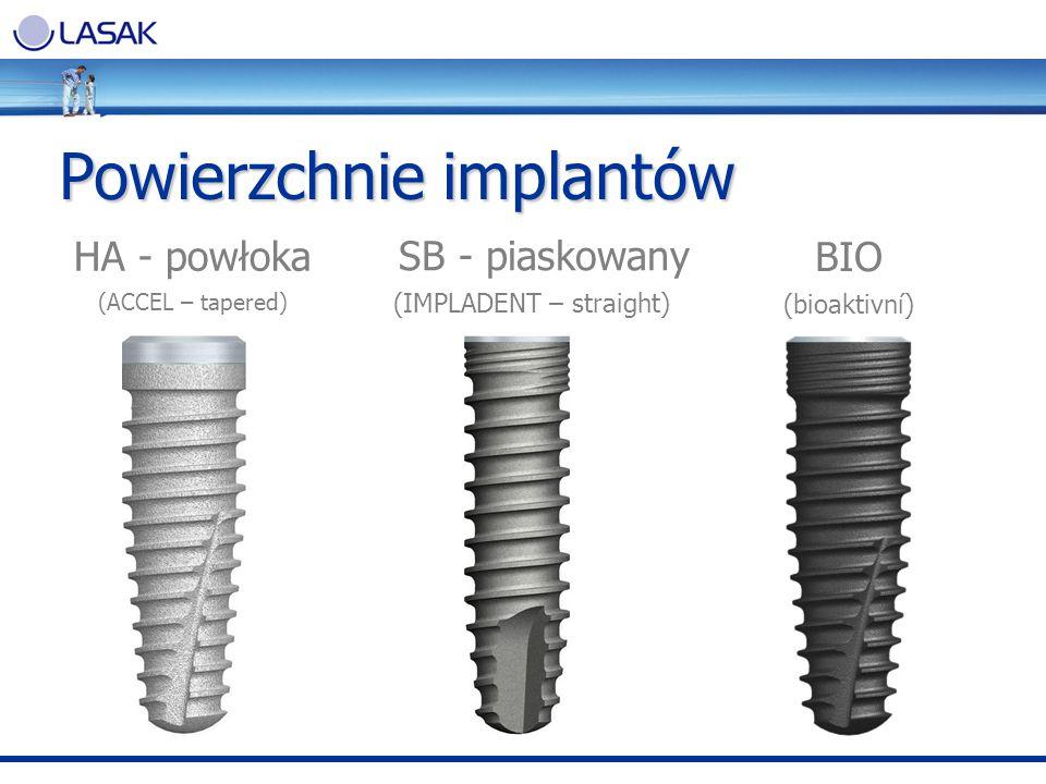 HA - powłoka (ACCEL – tapered) SB - piaskowany (IMPLADENT – straight) BIO (bioaktivní) Powierzchnie implantów