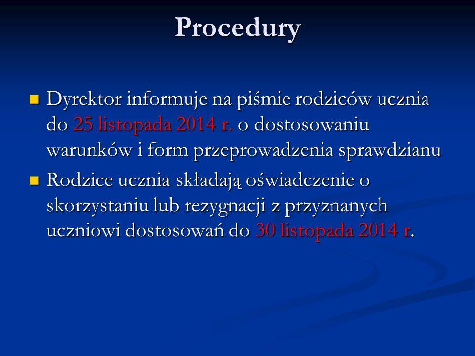 Procedury Dyrektor informuje na piśmie rodziców ucznia do 25 listopada 2014 r. o dostosowaniu warunków i form przeprowadzenia sprawdzianu Dyrektor inf
