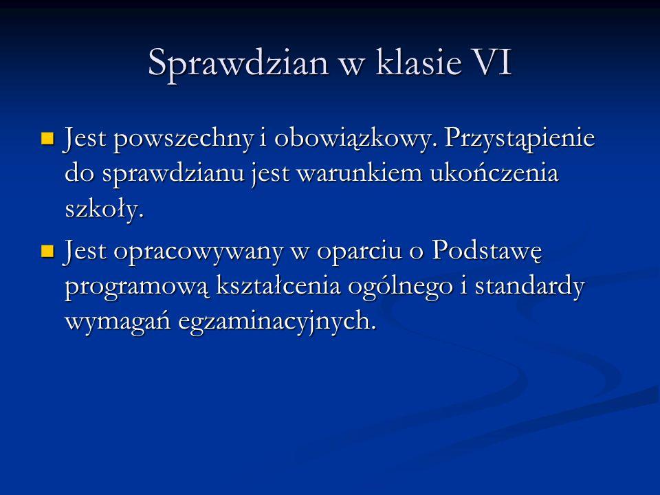 Sprawdzian w klasie VI Jest powszechny i obowiązkowy. Przystąpienie do sprawdzianu jest warunkiem ukończenia szkoły. Jest powszechny i obowiązkowy. Pr