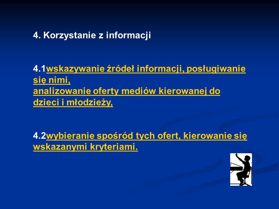 4. Korzystanie z informacji 4.1wskazywanie źródeł informacji, posługiwanie się nimi, analizowanie oferty mediów kierowanej do dzieci i młodzieży,wskaz