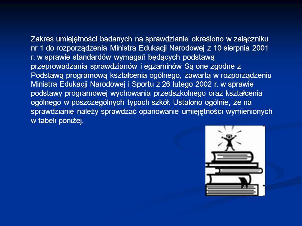 Zakres umiejętności badanych na sprawdzianie określono w załączniku nr 1 do rozporządzenia Ministra Edukacji Narodowej z 10 sierpnia 2001 r. w sprawie