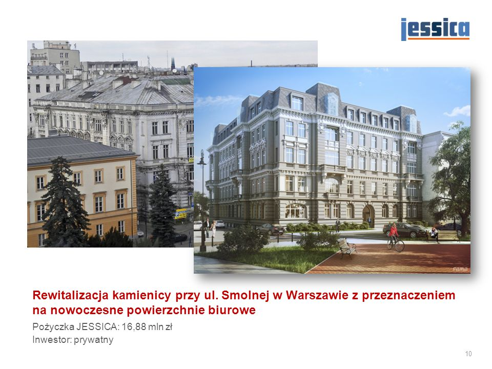 Rewitalizacja kamienicy przy ul. Smolnej w Warszawie z przeznaczeniem na nowoczesne powierzchnie biurowe Pożyczka JESSICA: 16,88 mln zł Inwestor: pryw